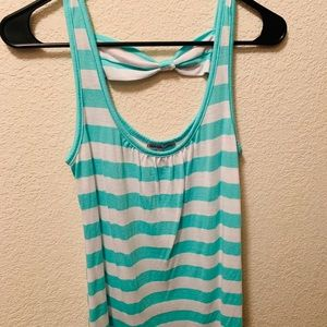 Charlotte Russe SM Mint Stipped Bow Tank